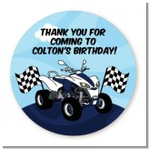 ATV 4 Wheeler Quad - Round Personalized Birthday Party Sticker Labels