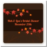 Autumn Leaves - Square Personalized Bridal Shower Sticker Labels