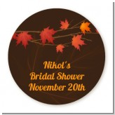 Autumn Leaves - Round Personalized Bridal Shower Sticker Labels