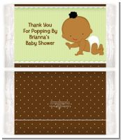 Baby Neutral African American - Personalized Popcorn Wrapper Baby Shower Favors