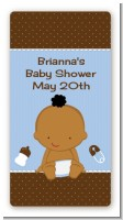 Baby African American - Rectangular Personalized Baby Shower Sticker/L