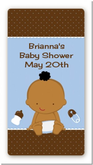 Baby Boy African American - Custom Rectangle Baby Shower Sticker/Labels