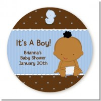 Baby African American - Round Personalized Baby Shower Sticker Labels