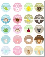 Baby Animals - Round Personalized Baby Shower Sticker Labels