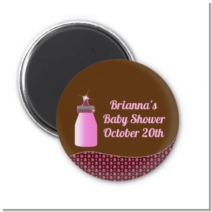 Baby Bling Pink - Personalized Baby Shower Magnet Favors