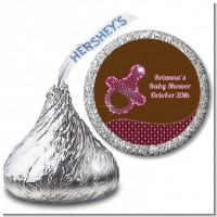 Baby Bling Pink Pacifier - Hershey Kiss Baby Shower Sticker Labels