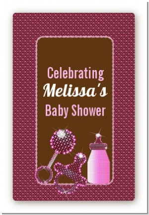 Baby Bling Pink - Custom Large Rectangle Baby Shower Sticker/Labels