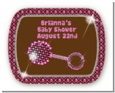 Baby Bling Pink - Personalized Baby Shower Rounded Corner Stickers