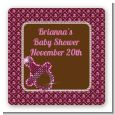 Baby Bling Pink - Square Personalized Baby Shower Sticker Labels thumbnail