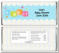 Baby Blocks Blue - Personalized Baby Shower Candy Bar Wrappers