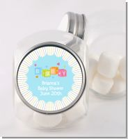 Baby Blocks Blue - Personalized Baby Shower Candy Jar