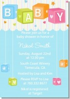Baby Blocks Blue - Baby Shower Invitations