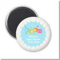 Baby Blocks Blue - Personalized Baby Shower Magnet Favors