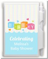 Baby Blocks Blue - Baby Shower Personalized Notebook Favor