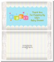 Baby Blocks Blue - Personalized Popcorn Wrapper Baby Shower Favors