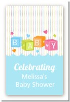 Baby Blocks Blue - Custom Large Rectangle Baby Shower Sticker/Labels