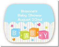 Baby Blocks Blue - Personalized Baby Shower Rounded Corner Stickers