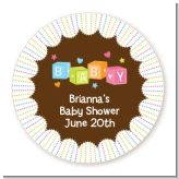 Baby Blocks - Round Personalized Baby Shower Sticker Labels