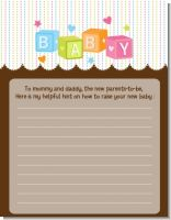 Baby Blocks - Baby Shower Notes of Advice