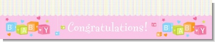 Baby Blocks Pink - Personalized Baby Shower Banners