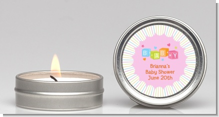 Baby Blocks Pink - Baby Shower Candle Favors