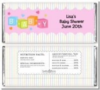 Baby Blocks Pink - Personalized Baby Shower Candy Bar Wrappers