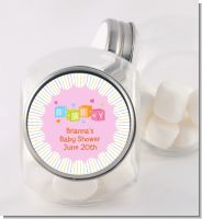 Baby Blocks Pink - Personalized Baby Shower Candy Jar