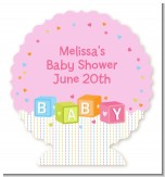 Baby Blocks Pink - Personalized Baby Shower Centerpiece Stand