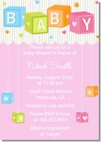 Baby Blocks Pink - Baby Shower Invitations