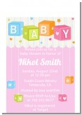 Baby Blocks Pink - Baby Shower Petite Invitations