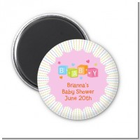 Baby Blocks Pink - Personalized Baby Shower Magnet Favors
