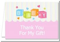 Baby Blocks Pink - Baby Shower Thank You Cards