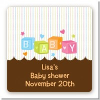 Baby Blocks - Square Personalized Baby Shower Sticker Labels