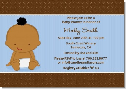 Baby Boy African American - Baby Shower Invitations