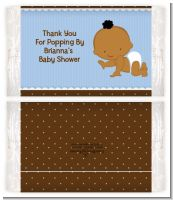 Baby Boy African American - Personalized Popcorn Wrapper Baby Shower Favors