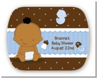 Baby Boy African American - Personalized Baby Shower Rounded Corner Stickers