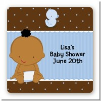 Baby African American - Square Personalized Baby Shower Sticker Labels