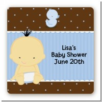Baby Boy Asian - Square Personalized Baby Shower Sticker Labels