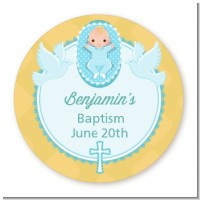 Baby Boy - Round Personalized Baptism / Christening Sticker Labels