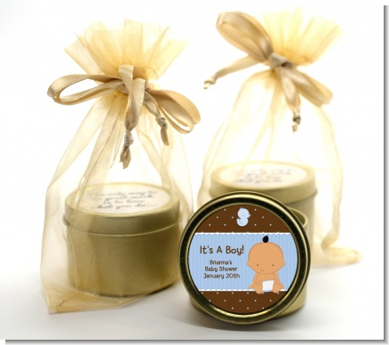 Baby Boy Hispanic - Baby Shower Gold Tin Candle Favors