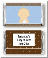 Baby Boy Caucasian - Personalized Baby Shower Mini Candy Bar Wrappers