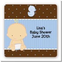 Baby Boy Caucasian - Square Personalized Baby Shower Sticker Labels
