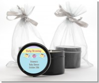 Baby Brewing Tea Party - Baby Shower Black Candle Tin Favors