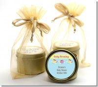 Baby Brewing Tea Party - Baby Shower Gold Tin Candle Favors