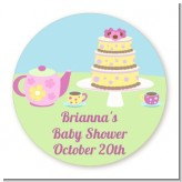 Baby Brewing Tea Party - Round Personalized Baby Shower Sticker Labels