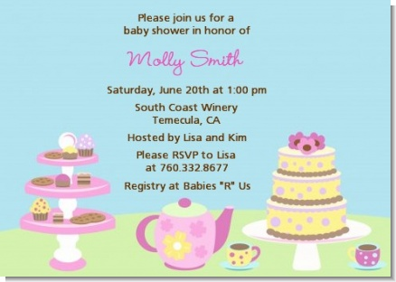 Baby Brewing Tea Party - Baby Shower Invitations