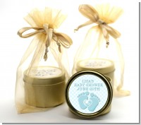 Baby Feet Baby Boy - Baby Shower Gold Tin Candle Favors