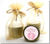 Baby Feet Baby Girl - Baby Shower Gold Tin Candle Favors