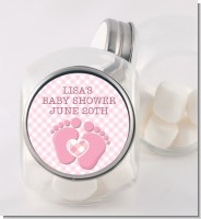 Baby Feet Baby Girl - Personalized Baby Shower Candy Jar