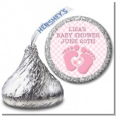 Baby Feet Baby Girl - Hershey Kiss Baby Shower Sticker Labels